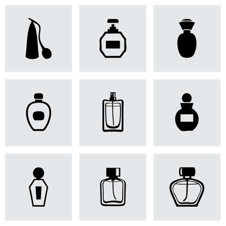 Vector perfume icon set on grey background