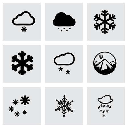 Vector snow icon set on grey background