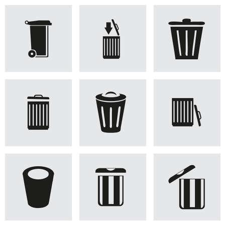Vector trash icon set on grey background Vector