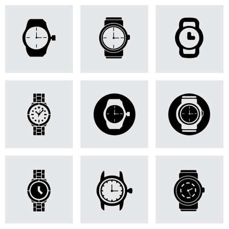 Vector wristwatch icon set on grey background