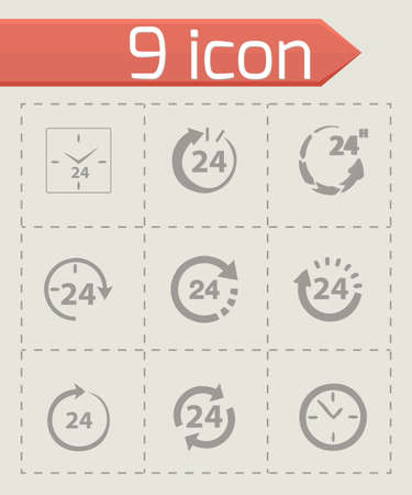 24 hours: Vector 24 hours icon set on grey background