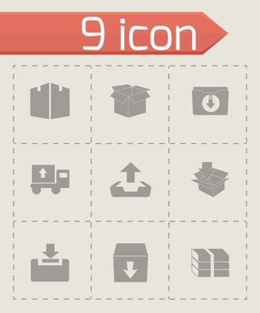 junk mail: Vector archive icon set on grey background