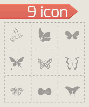 Vector butterfly icon set on grey background Vector