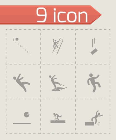 Vector fall icon set on grey background Vector