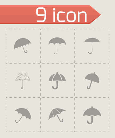Vector umberlla icon set on grey background Vector