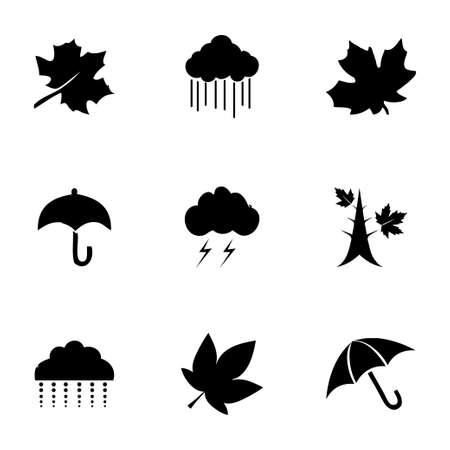 Vector autumn icon set on white background Vector