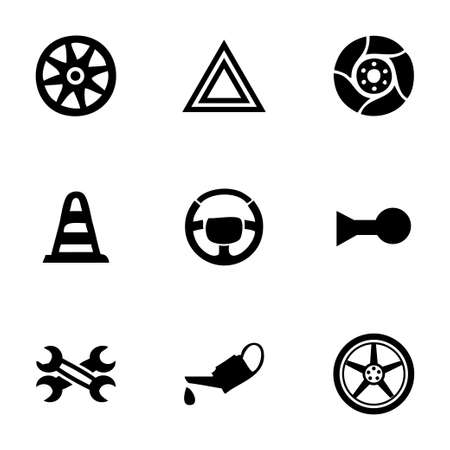 Vector car parts icons set on white background Illustration