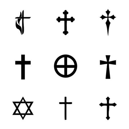 iron cross emblem: Vector choppers crosses icons set on white background