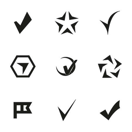 confirm: Vector confirm icons set on white background