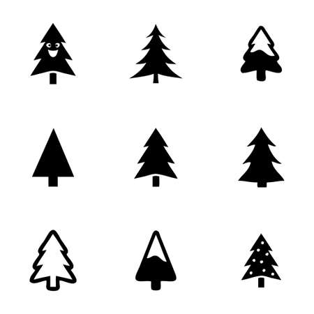 Árboles cristmas del vector iconos conjunto sobre fondo blanco