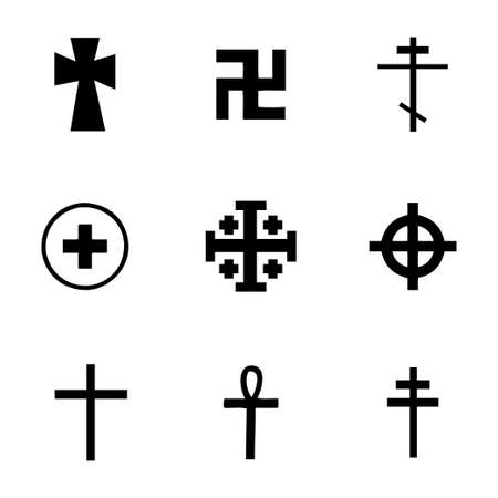 Vector crosses icons set on white background Vector