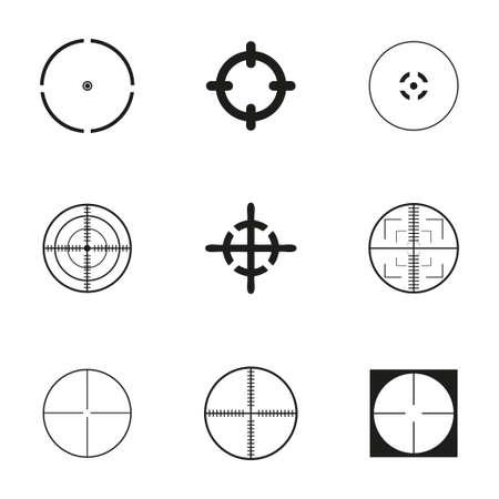 radar gun: Vector crosshair icons set on white background Illustration