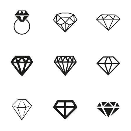 karat: Vector diamond icons set on white background