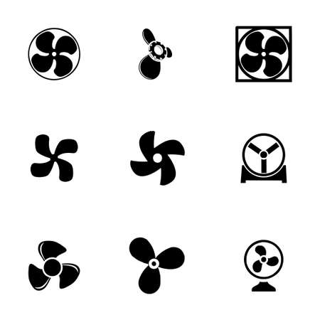 the fans: Vector fans and propellers icons set on white background