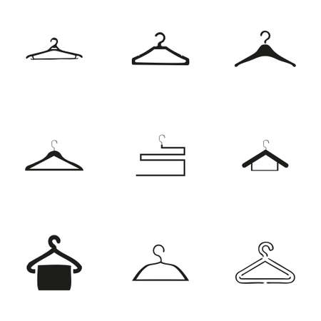 Vector hanger icons set on white background