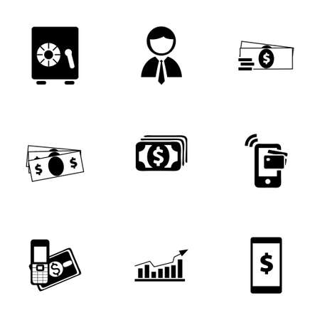 mobile banking: Vector mobile banking icons set on white background