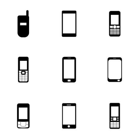 mobile icons: Vector mobile icons set on white background
