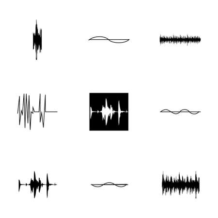 soundwave: Vector music soundwave icons set on white background
