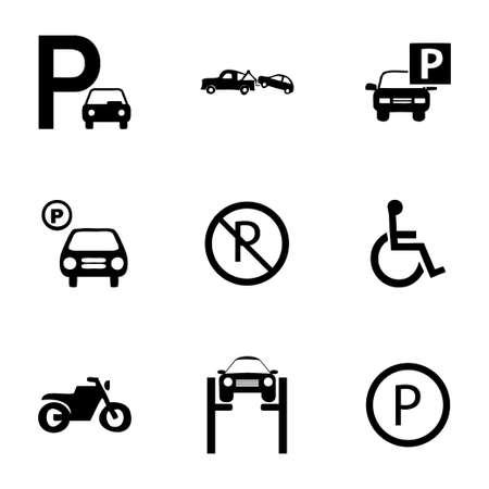Vector parking icons set on white background Vector