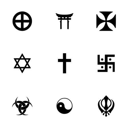 christian prayer: Vector religious symbols icon set on white background Illustration