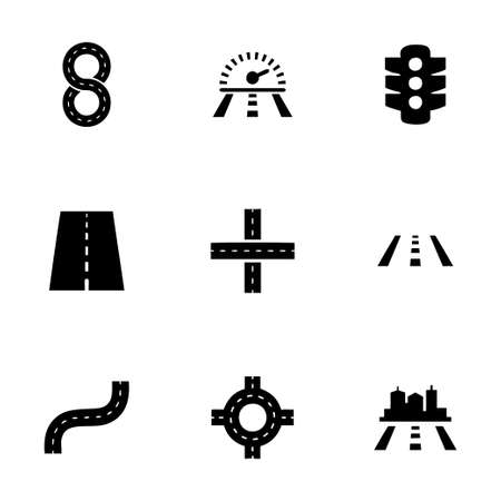 Vector road icon set on white background Vector