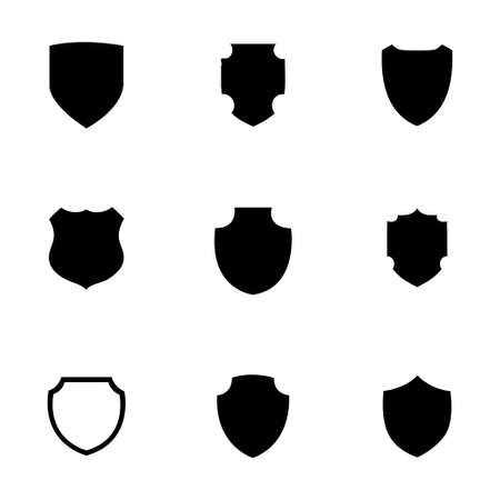Vector shield icon set on white background
