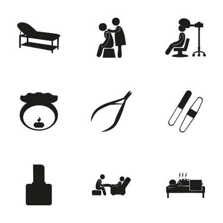 Vector spa icon set on white background Иллюстрация