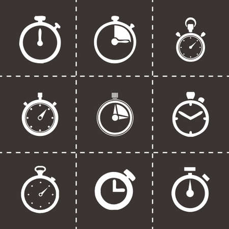 Vector stopwatch icon set on black background Vector