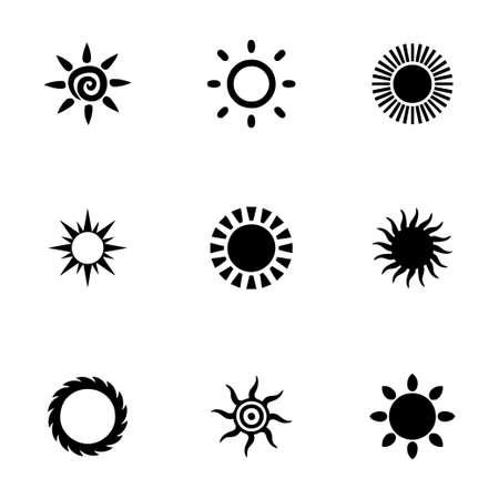 Sol del vector conjunto de iconos en el fondo blanco