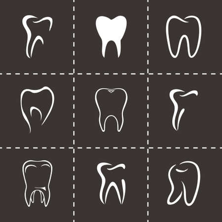 Vector teeth icon set on black background Vector