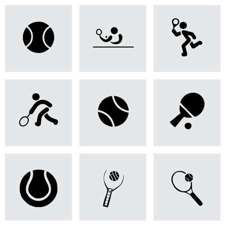 ski wear: Vector tennis icon set grey background Illustration