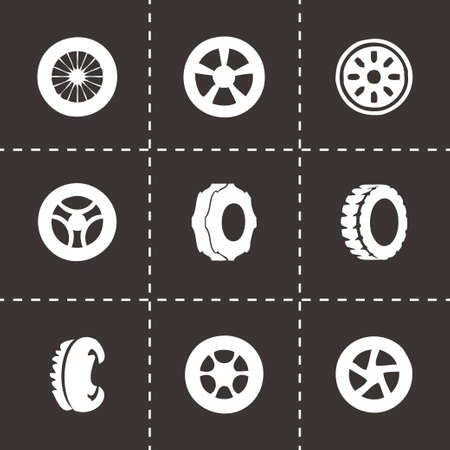 disk break: Vector tire icon set on black background