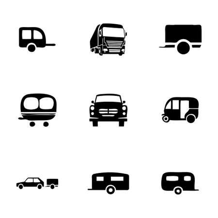 Vector trailer icon set on white background