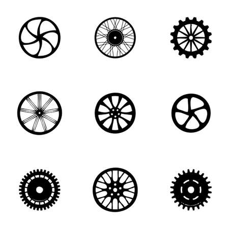 Vector wheel icon set on white background Vector
