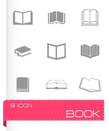 e book reader: Vector book icons set on white background Illustration