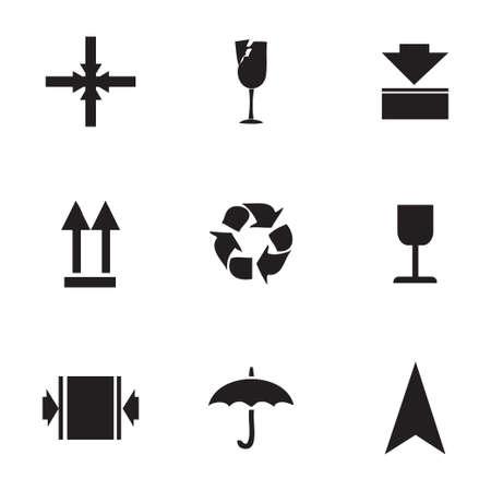 marking: Vector marking of cargo  icons set on white background Illustration