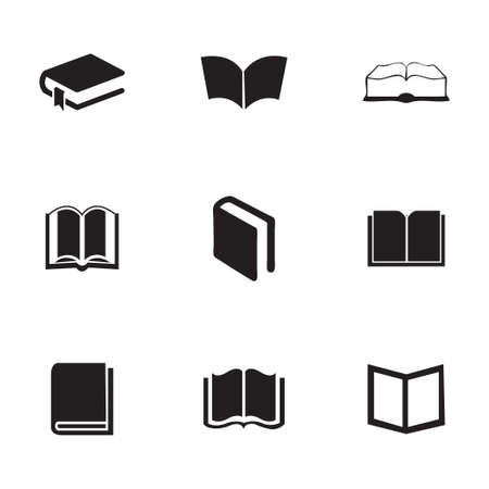 schoolbook: Vector schoolbook icons set on white background
