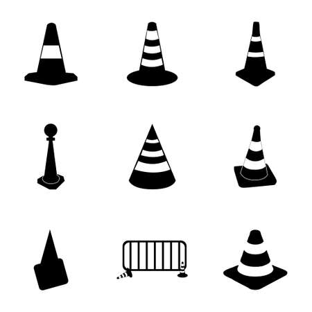 Vector traffic cone icons set on white background Illustration
