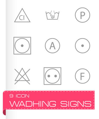 tumble: Vector washing signs icons set on white background
