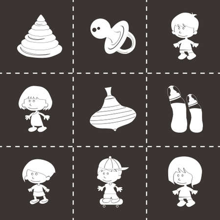 child s block: Vector baby icons set on black background