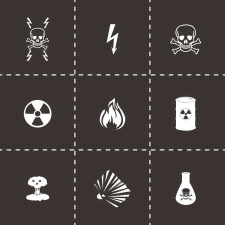 explosion hazard: Vector black danger icons set on black background