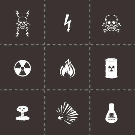 laser radiation: Vector black danger icons set on black background