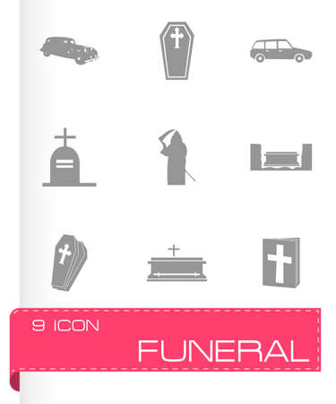 churchyard: Vector funeral icons set on grey background Illustration
