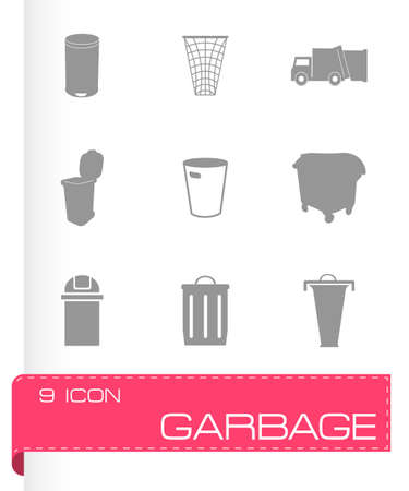 landfill: Vector garbage icons set on grey background