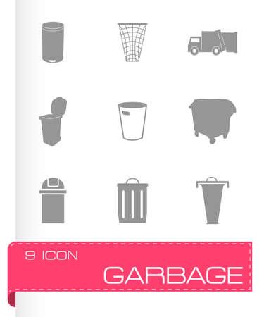 black plastic garbage bag: Vector garbage icons set on grey background