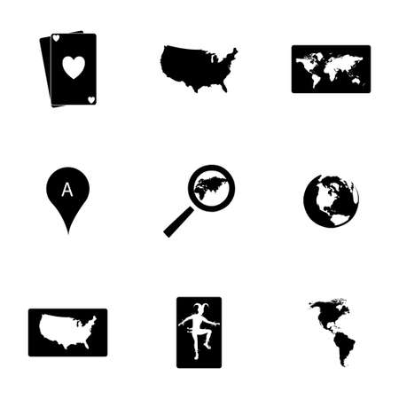 Vector map icons set on white background