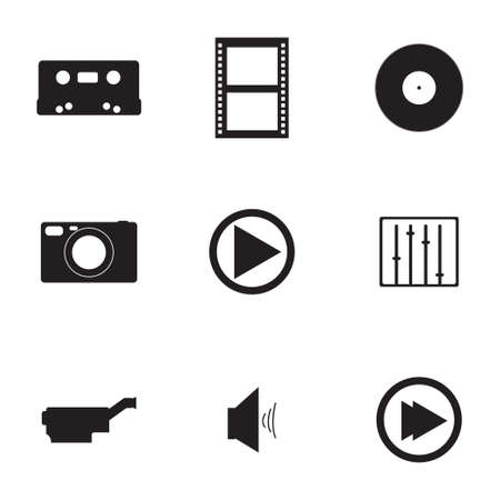 rolled newspaper: Vector media icons set on white background