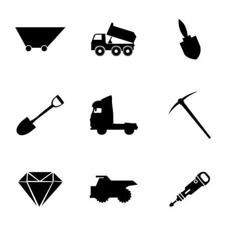 Vector mining icons set on white background