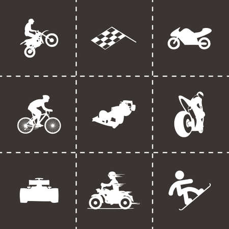 checked flag: Vector racing icons set on black background Illustration