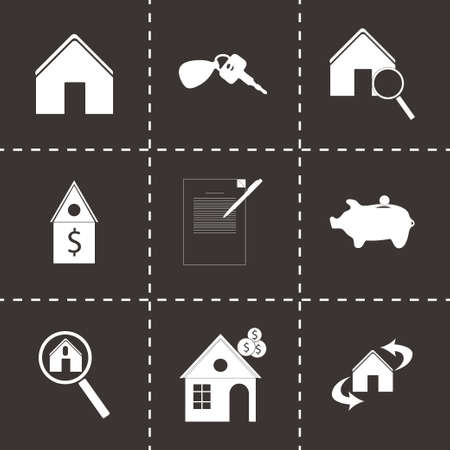 homes for sale: Vector real estate icons set on black background